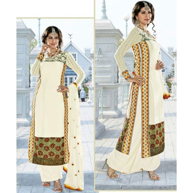 Cream Satin Festival #Sharara With Dupatta- $70.84