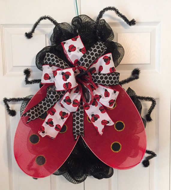 Ladybug Wreath Deco Mesh Wreath Front Door by HoustonCustomWreaths