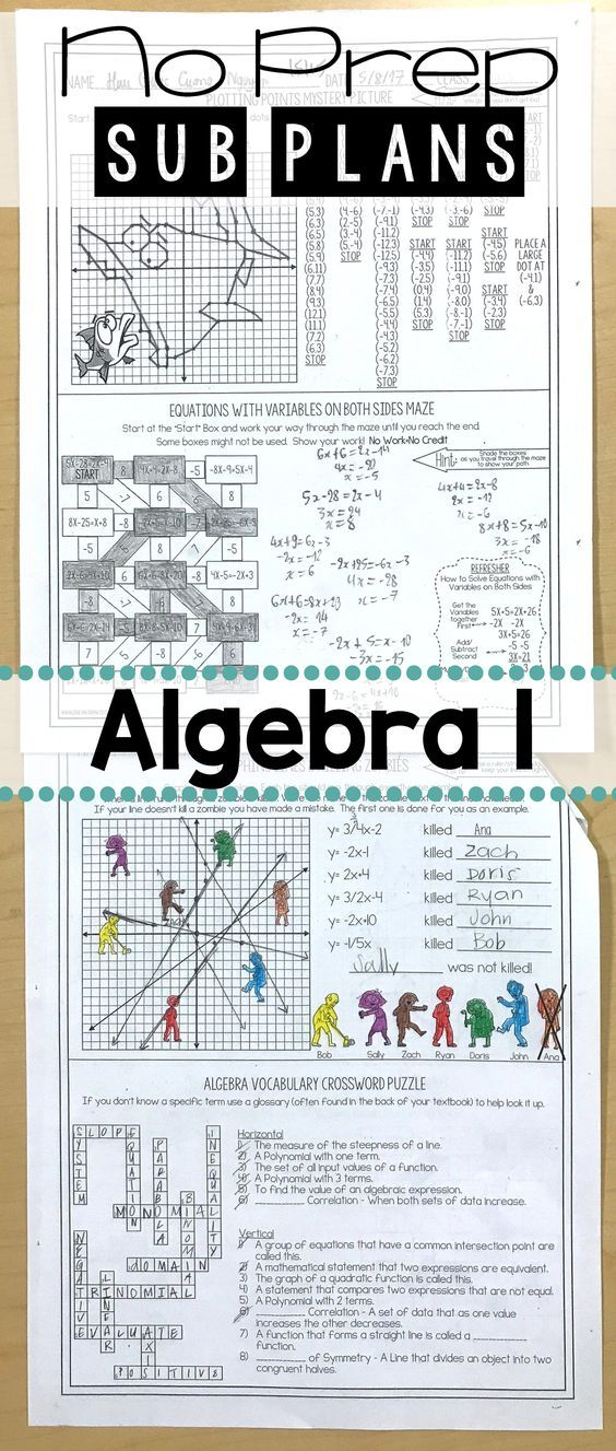 This Algebra substitute lesson was a life saver when I got sick. No prep sub lessons for high school math and algebra 1 can be so hard to find! This fun substitute teacher worksheet had 4 different mini activities to keep the students engaged when I had to be out sick and leave my math students with a sub unexpectedly. I will be using this worksheet every year for a sub lesson. It really was no prep! All I had to do was print the worksheet & leave with a sub for my Algebra st