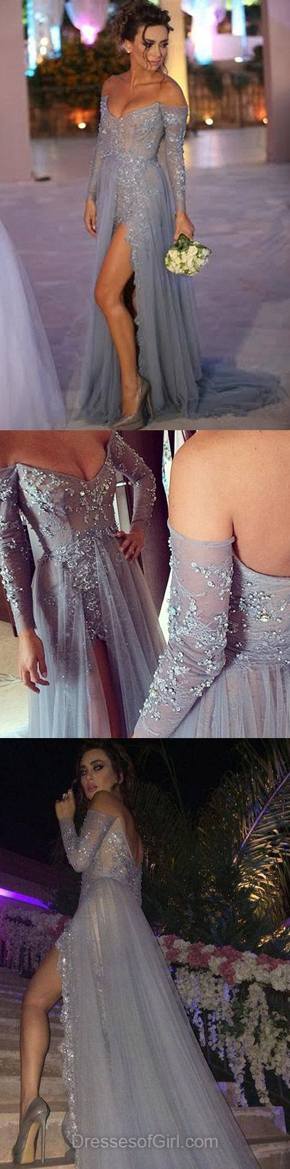Sexy A-line Off-the-shoulder Tulle Sweep Train Appliques Lace Long Sleeve Backless Prom Dresses
