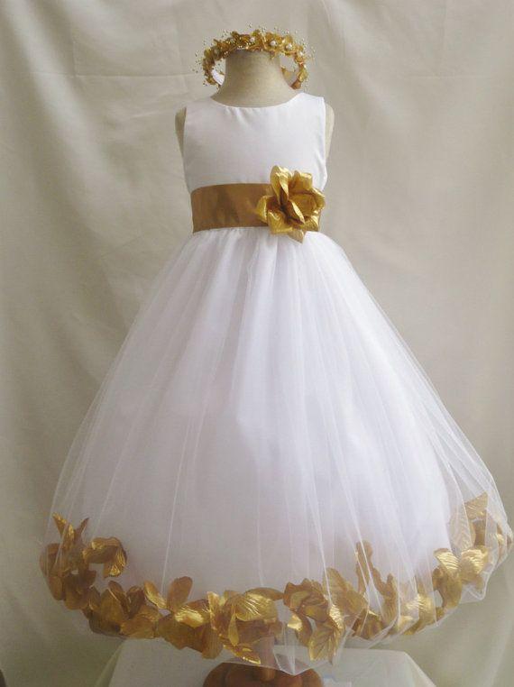 Flower Girl Dress Ivory W Gold Petal Wedding Children
