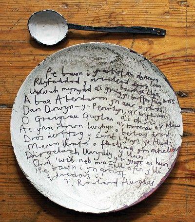 Poetry & art. Buddug Wyn Humphreys, Enamel plate and spoon.  http://www.buddug.com