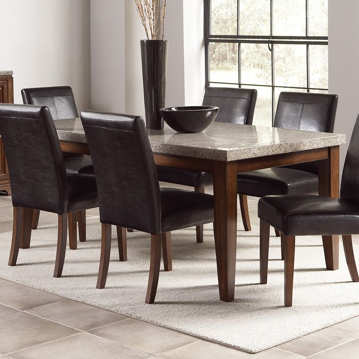 Elegant Clayton Granite Top Dining Table Set By Steve Silver