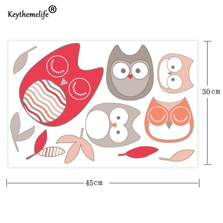 1 stks Cartoon Uil Kinderen Kinderkamer Woonkamer DIY Verwijderbare Muurstickers Slaapkamer Interieur Huis Decoratieve Decor CF