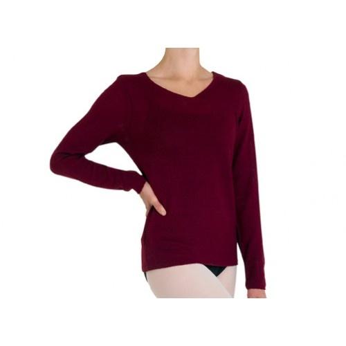 Bloch Celine Ladies top  V neck long sleeve top  Fabric: 100% acrylic cashmere like yarn  Colours: Ballet pink , Light Blue, Burgundy, Black  Price: 23.20€