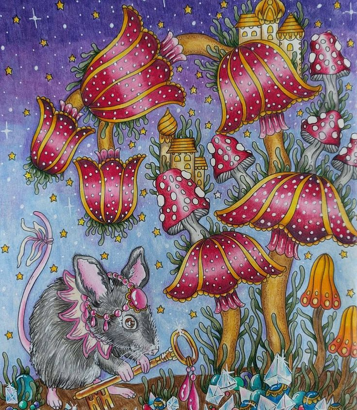 The Mouse Queen and her treasures. #magicaldawncoloringbook #magiskgryning #magicaldawn #hannakarlzon #fabercastellpolychromos #fabercastell #adultcoloring #adultcoloringbook #coloringforadults