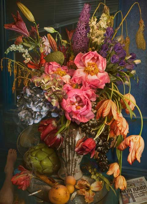 In Earth Laughs In Flowers, David LaChapelle appropriates the traditional Baroque still life painting in order to explore contemporary vanity, vice, the transience of earthly possessions and, ultimately, the fragility of humanity.