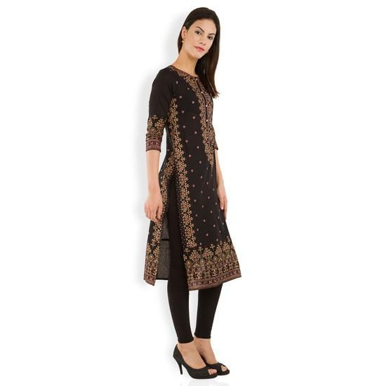 LadyIndia.com # A-Line Kurti Designer Kurti, Attractive Floral Cotton Brown Kurti For Women, Kurtis, Kurtas, Cotton Kurti, Anarkali, A-Line Kurti Designer Kurti, https://ladyindia.com/collections/ethnic-wear/products/attractive-floral-cotton-brown-kurti-for-women?variant=30039303309