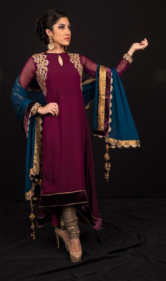 Shyamal & Bhumika dark purple anarkhali