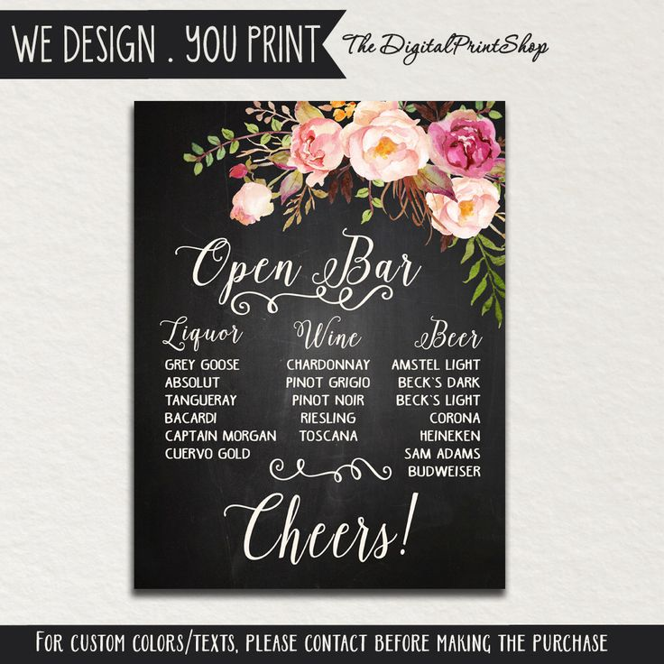 Don't think I want chalkboard but i like how everything is listed.    Custom Chalkboard Wedding BAR Menu SIGN open bar signage Drinks cocktails floral shabby chic rustic Reception Digital DIY Printable #17 jpg by DigitalPrintShop on Etsy https://www.etsy.com/listing/238960756/custom-chalkboard-wedding-bar-menu-sign