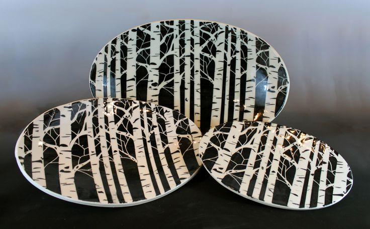 Jon Loer, White earthenware , nesting platters 2013