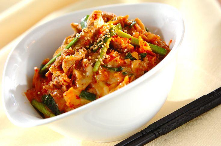 豚キムチーズ丼のレシピ・作り方 - 簡単プロの料理レシピ | E・レシピ