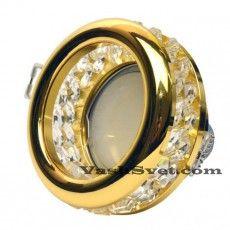 Золотой точечный светильник с камнями встраиваемый в подвесной потолок