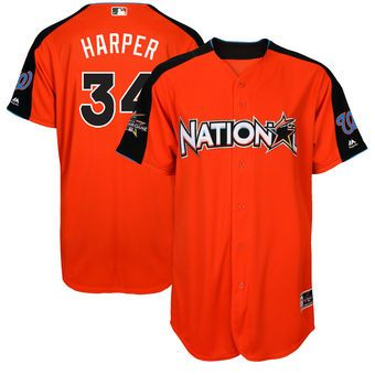 National League Nationals Bryce Harper Majestic Orange 2017 MLB All-Star Game Authentic Home Run Derby Jersey