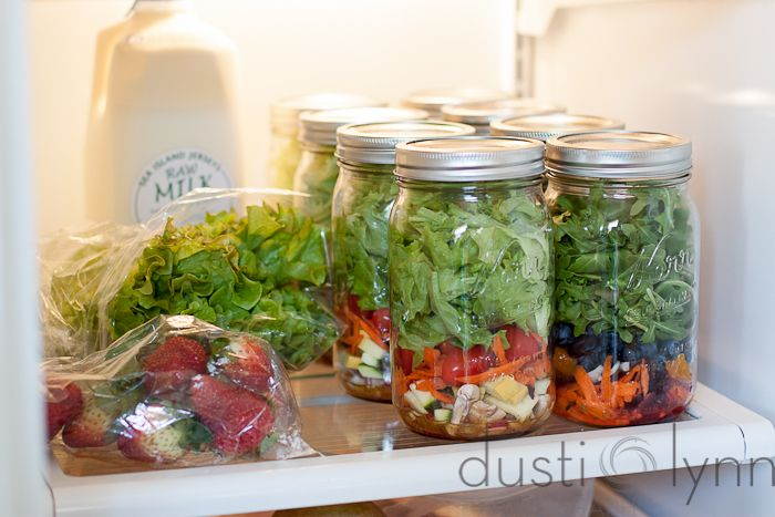 """Salad in a jar - easy for grab and go lunches (paleo) Build with wet ingredients on the bottom, automatically """"tosses"""" when you invert into your bowl."""