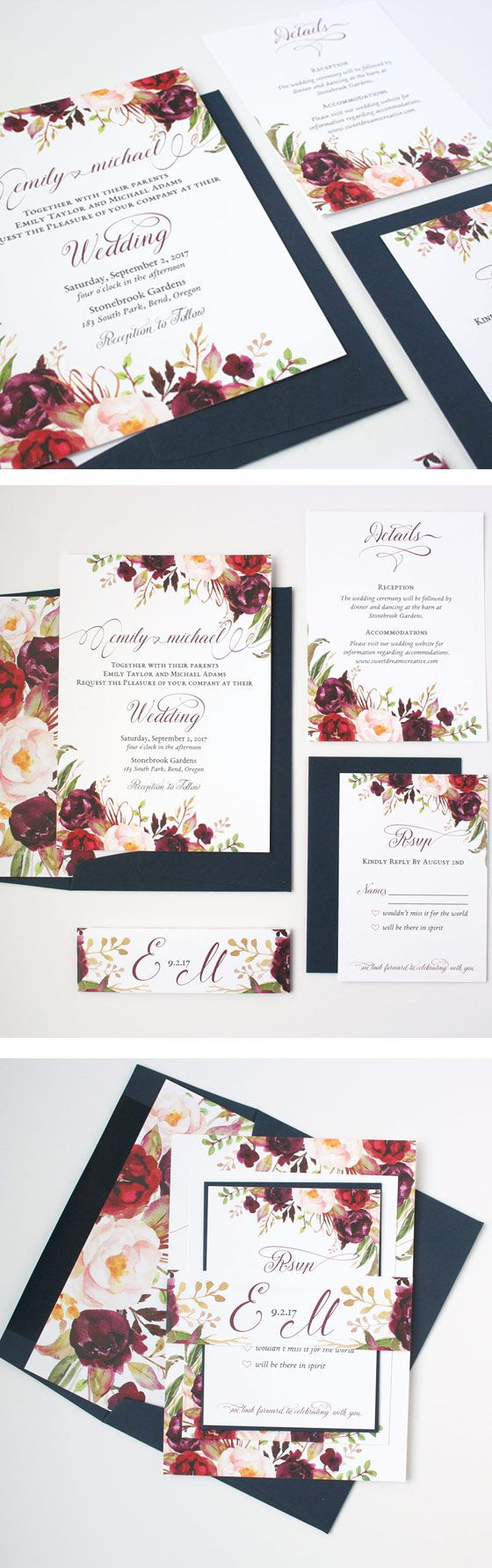 how much do invitations for wedding cost%0A Lovely navy and burgundy wedding invitations