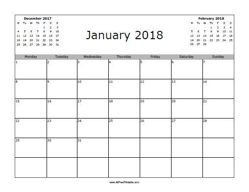 blank 2018 january calendar