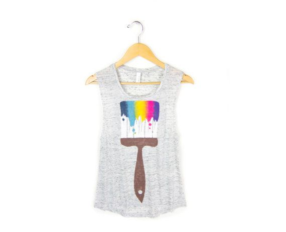 Paint Brush  Hand STENCILED Scoop Neck Flowy by twostringjane, $32.00