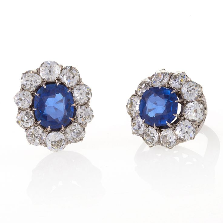Macklowe Gallery- Antique Sapphire, Diamond and Gold Cluster Earrings