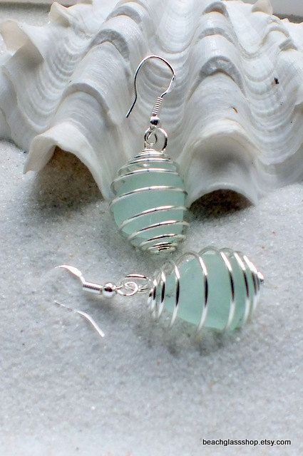 Sea Glass Beach Glass Spiral Cage  Lake Erie