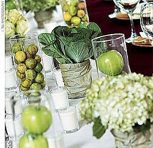 Use fall fruits and vegetables to create unique and beautiful table decorations