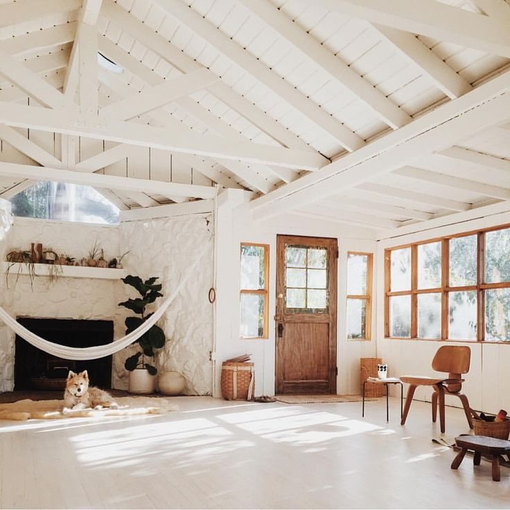 indoor hammock white beamed ceiling and indoor