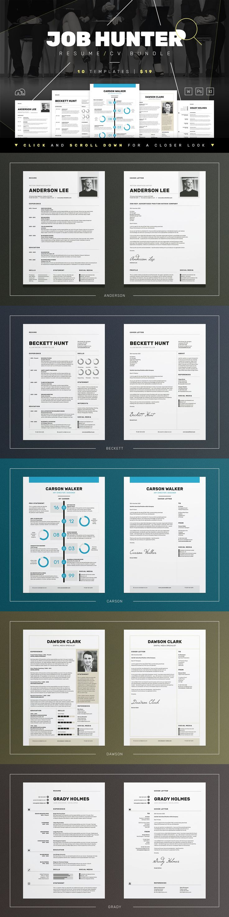 JOB HUNTER ResumeCV Bundle 11547 best