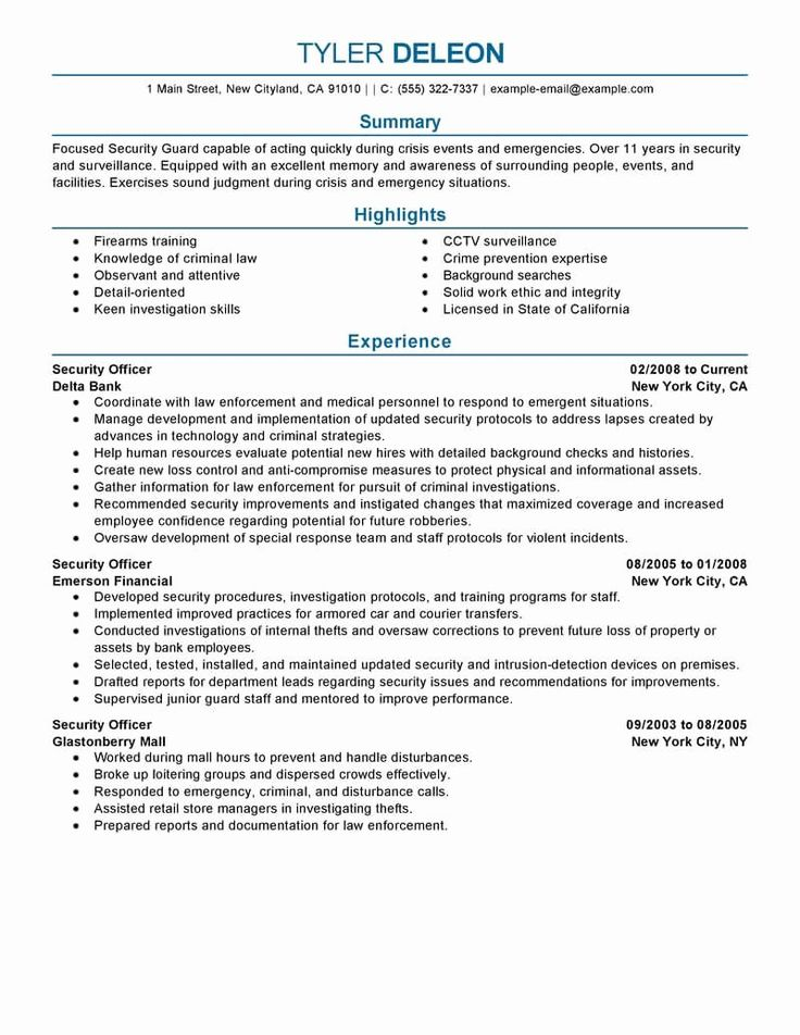 20 Security Guard Job Description Resume in 2020 (With