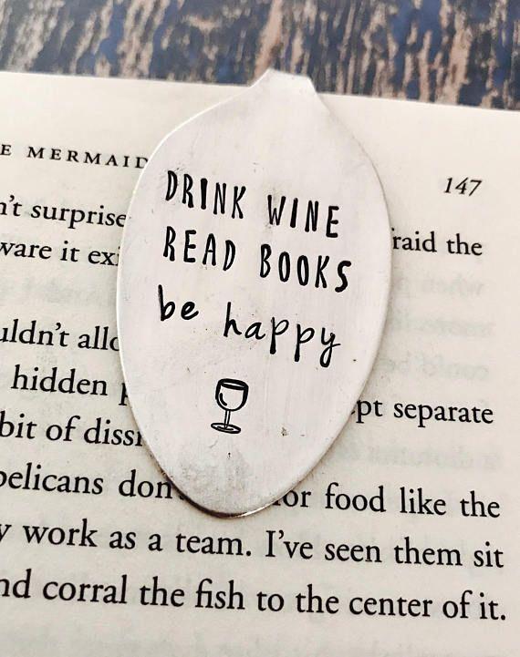 Drink Wine Read Books Be Happy vintage spoon bookmark – Girlfriend Gift – Christmas Gift – Stocking Stuffer – Wine Club – Wine Gift