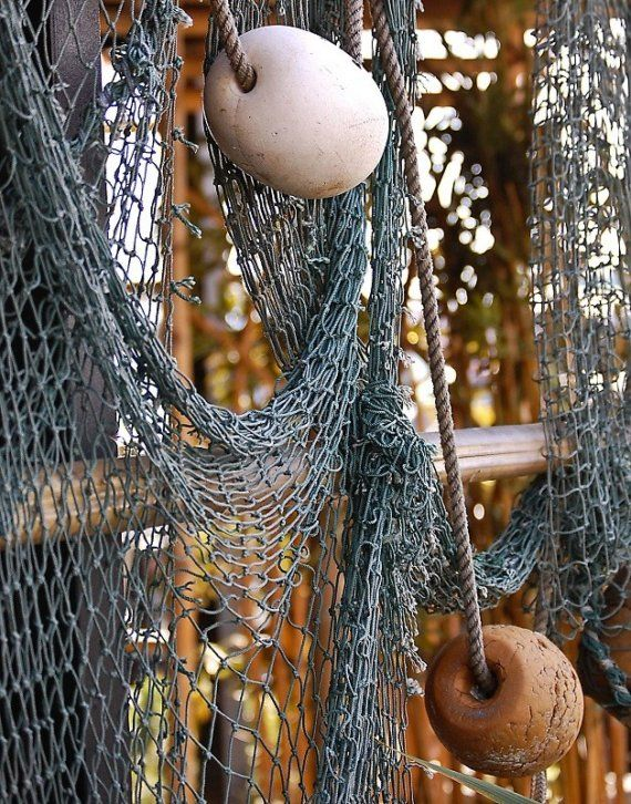 Old fishing net and weights and floats / Fish Nets to hang ornaments and artworks