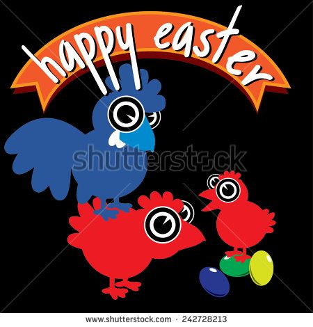 Vector cartoon Happy Easter card design with rooster, chicken, chick and eggs - stock vector   #fun #funny #graphic #happy #icon #animal #art #background #bird #cartoon #character #chick #chicken #clip #cock #egg #mascot