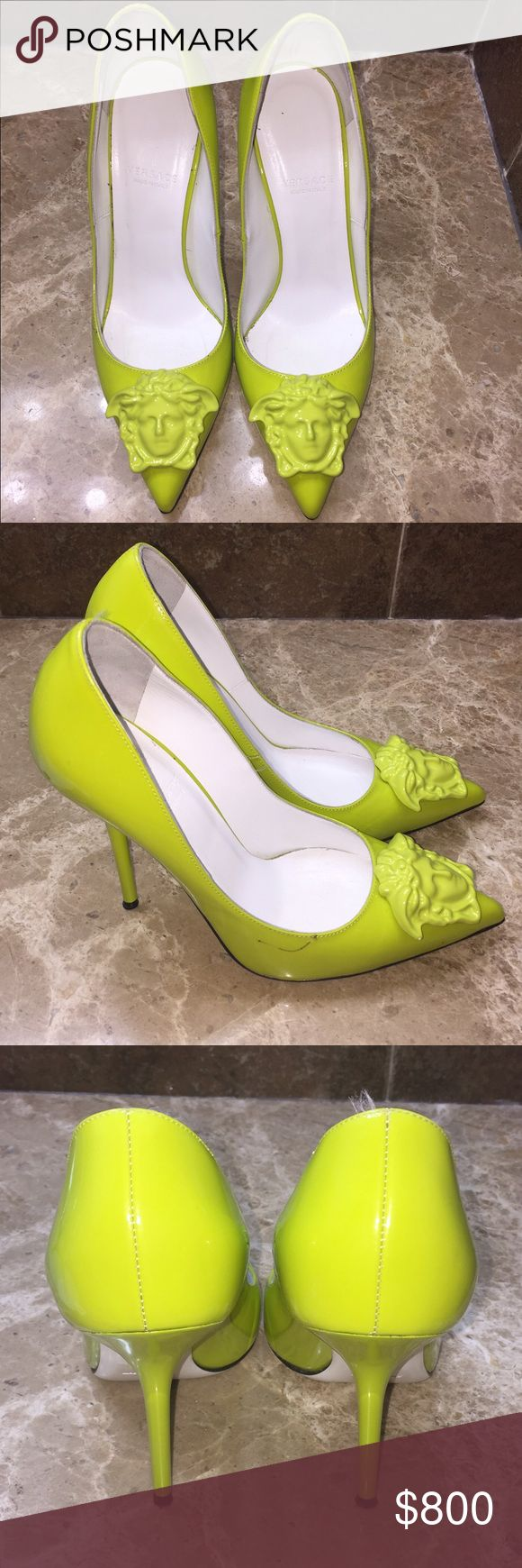 Versace neon pump medusa head Versace neon pump medusa head (without box, pen mark and black dot ) as seen in the picture (size 36) Versace Shoes Heels