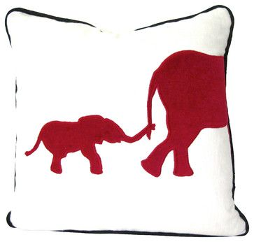 Elephant Pillow - Red Elephant Applique Pillow - transitional - Pillows - Therese Marie Designs