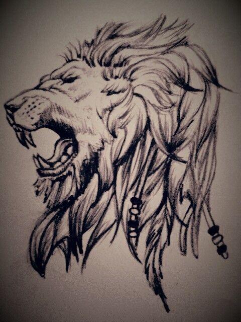 Roaring Lion Profile Tattoo Pin by Jessica ...