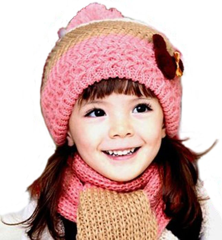 """Girls Minnie Knitted Hat Scarf Set for Ages 5-8 (Pink, Beige, Brown). Girls Minnie knitted hat scarf set for ages 5-8. Pink, beige, brown colors with big poms ~ A lovely Minnie patch on hat. Super soft, smooth, and light-weight ~ Hat is double layered for fuller effect. Hat measurements before stretch: hem width 6"""", mid-height width 12"""", height without pom 7"""". Scarf measurements before stretch: Width 5"""", Length without poms 48""""."""