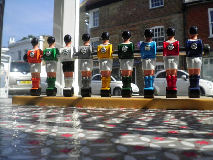 The line up, Soccer Deluxe custom coloured football players http://www.gamesroomcompany.com/Product_Catalogue/Table_Football/Table_Football_Tables/Soccer_Deluxe_Table_Football_6964 #TableFootball