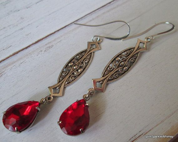 Red Rhinestone Earring Red Earring Ruby by SpiritSparkleWhimsy
