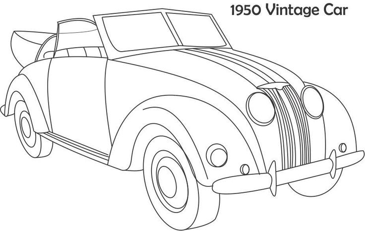 coloring pages antique cars | 1950 Vintage Car coloring page | Verkehrsmittel