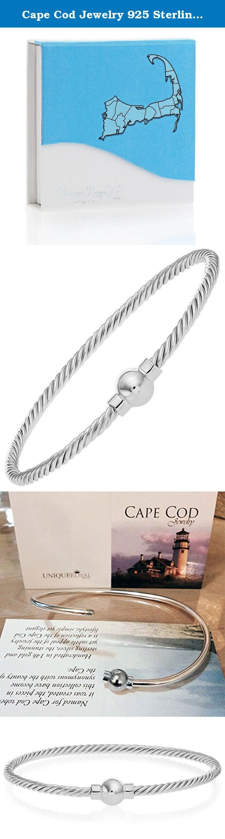 """Cape Cod Jewelry 925 Sterling Silver, Ball Screw Twisted Bangle Bracelet (Size 7""""). Named for Cape Cod where the style originated, Cape Cod Jewelry captures all the beauty of today's fashion. As part of the most popular styles of the Cape Cod Jewelry line this twisted bangle bracelet features a sterling silver ball with screw mechanism on a twisted sterling silver bangle. This bangle bracelet is specially shaped for comfort. Each of our jewelry items come in an adorable gift box for safe..."""