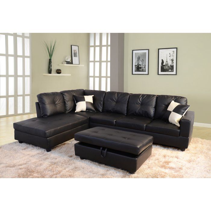Upgrade your living room and set a traditional foundation in your entertainment space when you add this lovely sectional sofa. With a large L-shaped sofa design, a chaise, and a convenient ottoman, this set has everything you need to refresh your space. The faux leather upholstery and simple silhouette gives this piece its classic look, while the button tufts and the two checkered toss pillows elevate the style with standout style. More than just stylish, the ottoman also features hidden…