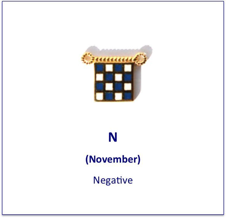 N (November) signal flag charm