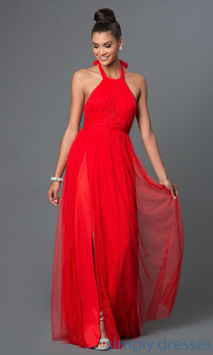 Shop floor length red formal halter style prom dresses at SimplyDresses. Inexpensive formal dresses with lace and bows for formal evening wear.