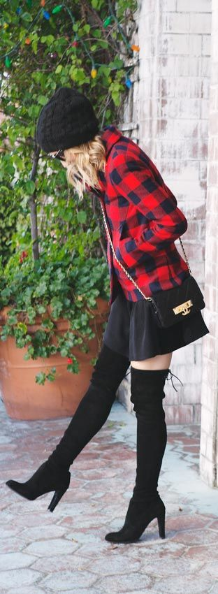 All Black Outfit + Plaid Jacket