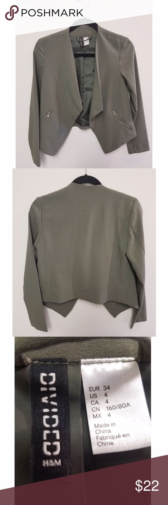 Chic collarless olive green blazer || h&m Fits more like a 2, never worn and new with tags! Looks a bit more deep green in-person than in the pictures. H&M Jackets & Coats