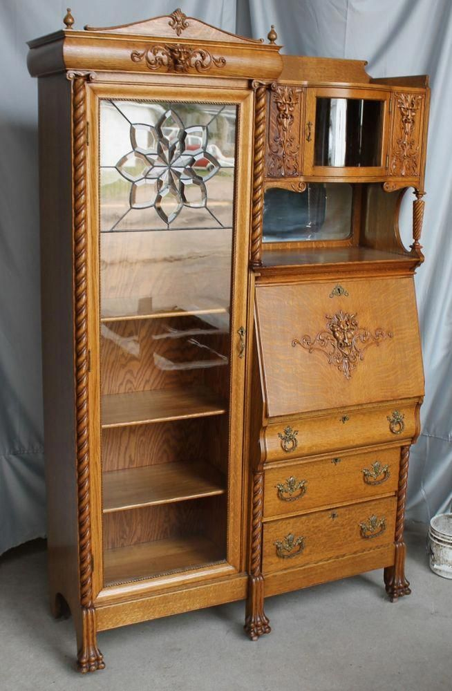 Antique Oak Side By Side Secretary Bookcase Is In Good Condtion