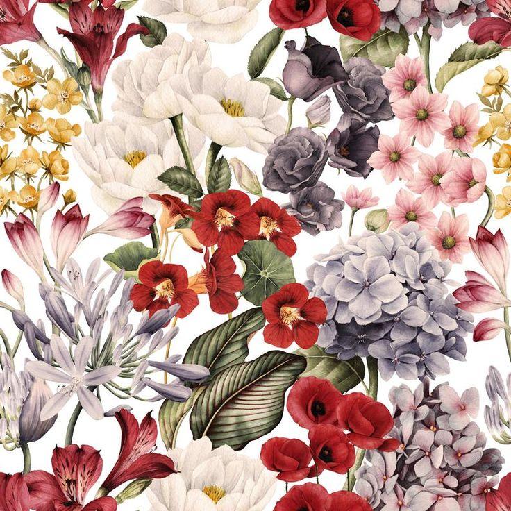 Removable Wallpaper Retro Floral Mix Peel & Stick ...