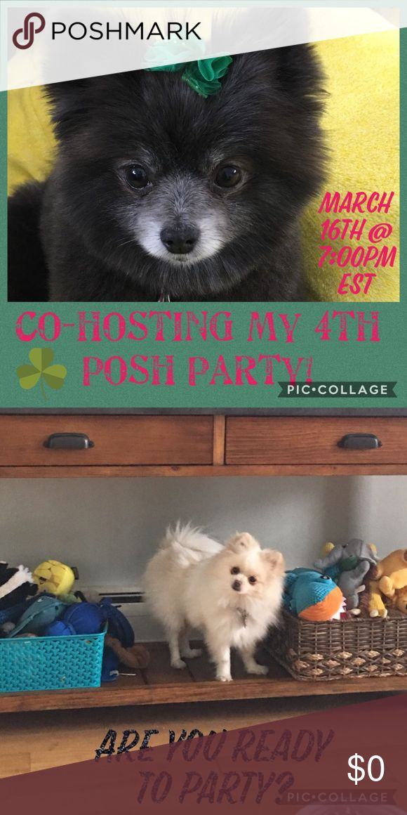 🐶🦄Co-hosting my 4th Posh Party!!🦄🐶 Are you ready to party?!?!🐶🐶🐶🐶🐶  I'm co-hosting my 4th Posh Party Friday, March 16th @ 7:00pm EST!! No theme yet.  🍀So excited!😎 Hope you join my co-hosts and me!!💕🥝  I will only be picking from posh compliant closets. Rules are listed under FAQs in the app. Please DO NOT share ANY items to my dressing room. Excited to look through closets mentioned here & search for others.  Thanks to all for shares and support!💕 Other