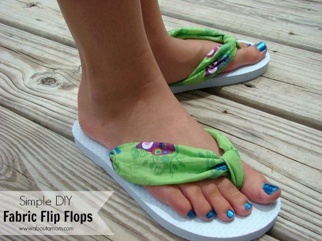 Simple DIY Fabric Flip Flops - Use scrap fabric to create a fun sunny wearable craft.