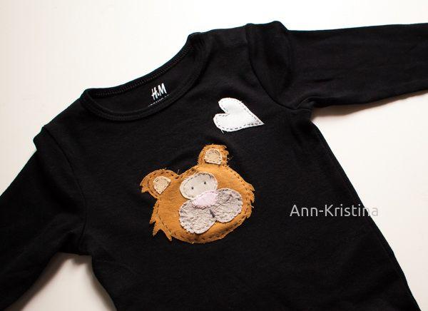 Sewing, ompelu, applique, tuunaus, baby boy, onesie, nalle, teddybear, bear