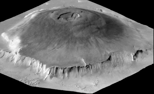 Olympus Mons of Mars is the tallest mountain in our Solar System coming in at 15.5 miles high!